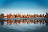 Fototapeta Nowy Jork - View from the water, from Hudson bay to Lower Manhattan. New York.