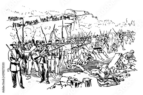 Fotografiet Battle of Chickamauga vintage illustration