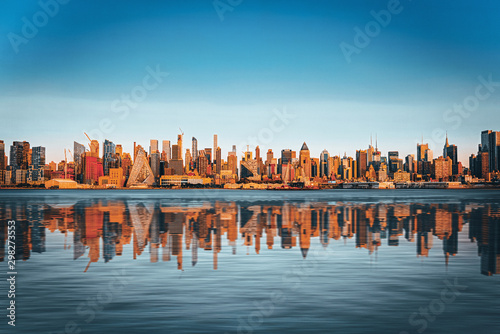 Fototapeta View from the water, from Hudson bay to Lower Manhattan. New York. obraz