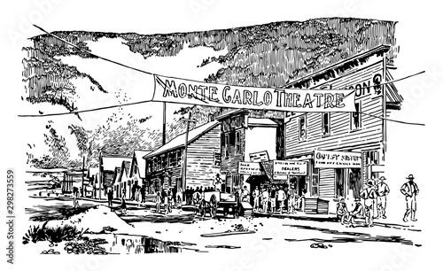 Obraz na plátně Main street , dawson city, july 1897  vintage illustration
