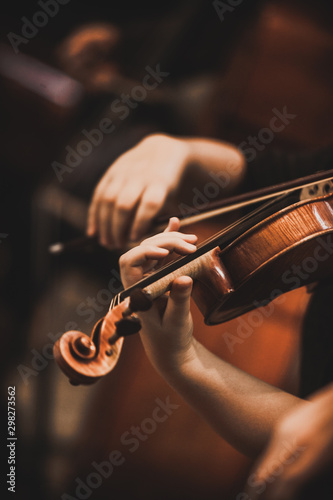 Close-up of part of the symphony masterpiece - Section for strings, violins and cellos