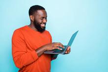Photo Of Cheerful Man Browsing...