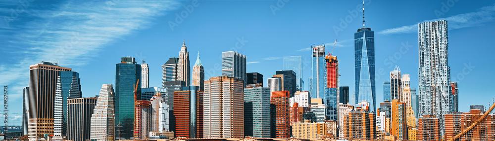 Fototapeta Lower Manhattan  from Brooklyn Bridge which across the East Rive, between Manhattan and Brooklyn. New York.