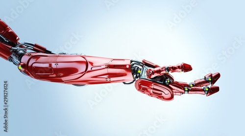 Photo Red futuristic arm, type of bionic arm with similar functions to a human arm
