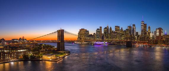 New York City Brooklyn Bridge evening skyline sunset
