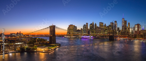 New York City Brooklyn Bridge evening skyline sunset