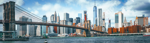 Suspension Brooklyn Bridge across Lower Manhattan and Brooklyn Wallpaper Mural