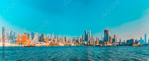 View from the water, from Hudson bay to Lower Manhattan. New York.