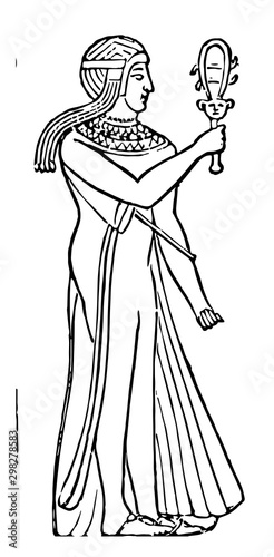 Fotografía Egyptian Priestess, vintage illustration.