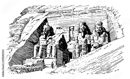 Fotografia, Obraz  Rock Temple at Abu-Simbel, vintage illustration.