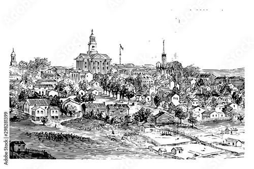 Billede på lærred Vicksburg during the Civil War vintage illustration