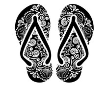 Flip Flops Clip Art. Mandala Zentangle Art. Digital Downloads Pattern.