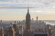 Sunset view of Manhattan City Skyline and the Empire State Building from Top of the Rock on Rockefeller Center