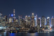 Sunset and night view of Manhattan, cityscapes of New York, USA
