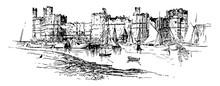 Carnarvon Castle Vintage Illustration.