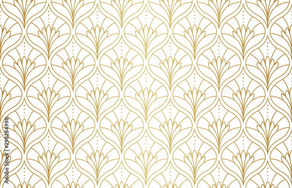 Fototapety, obrazy: Seamless Arabesque Floral Pattern. Art Deco Style Background. Vector Abstract Flower Texture.