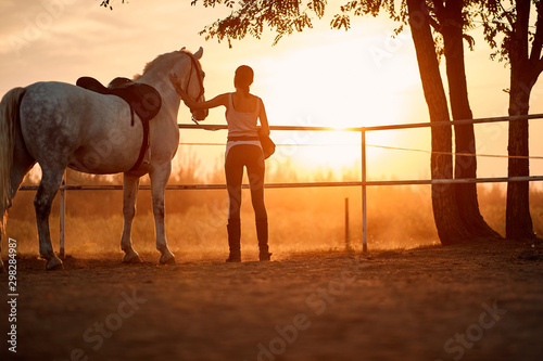 Fototapeta Young girl spending time with her horse obraz
