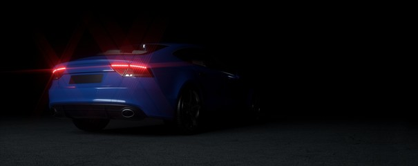 Blue sports car on elegant dark background.