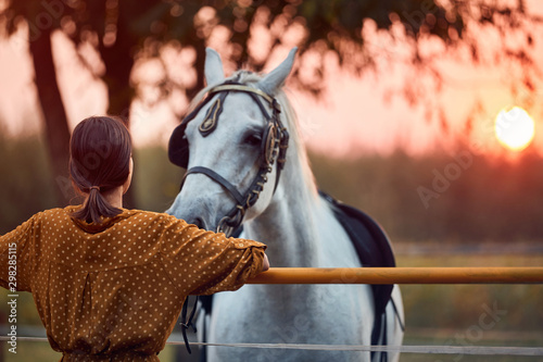 Young woman with her horse in evening sunset