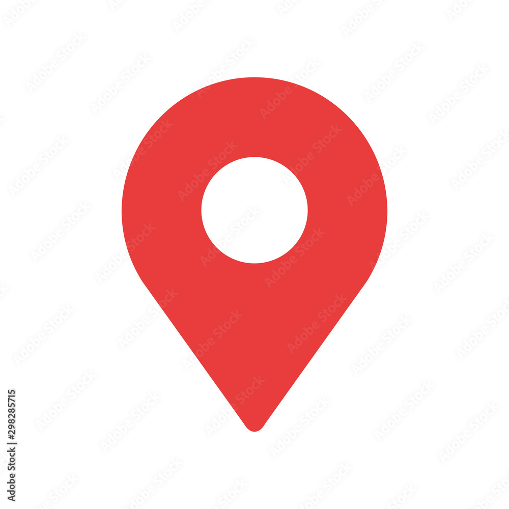 Fototapeta Simple red map pin. Concept of global coordinate, dot, needle tip, ui. Flat style trend modern brand graphic design on white background
