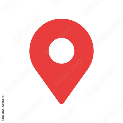 Simple red map pin. Concept of global coordinate, dot, needle tip, ui. Flat style trend modern brand graphic design on white background
