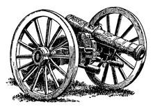 British Cannon, Vintage Illustration.