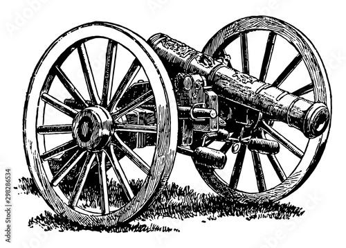 Papel de parede British Cannon, vintage illustration.
