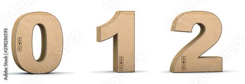 Fotomural  Cardboard texture numbers 0, 1, 2