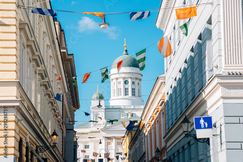 Helsinki cathedral with colorful garland in Helsinki, Finland Wallpaper Mural