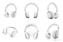 3D Rendering White Headphones ...