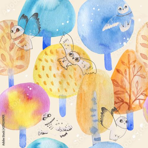 bezproblemowa-ladny-wzor-akwarela-jesien-kolorowy-las-sowy-idealny-dla-dzieci