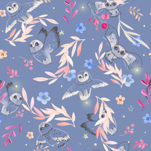 Soft Seamless Pattern. Ideal For The Nursery. Gentle Tone. Watercolor Paper Texture. Owls, Flowers, Branches, Leaves