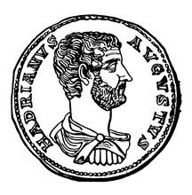 Hadrian, Coin Of Vintage Illustration.