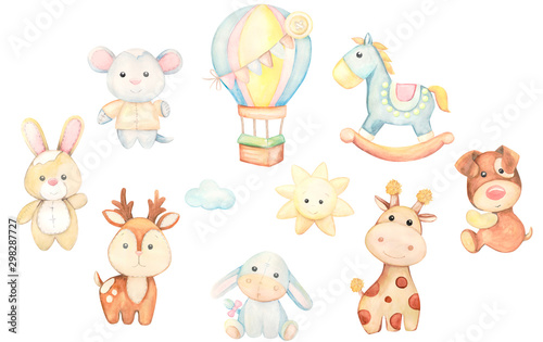 Toys watercolor set. Children's illustration. - 298287727