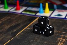 Three Black Dice For A Board G...