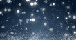 canvas print picture Snowflakes and bokeh lights on the blue Merry Christmas background. 3D render