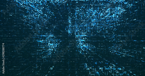Abstract digital network data background, 3D rendering Canvas Print