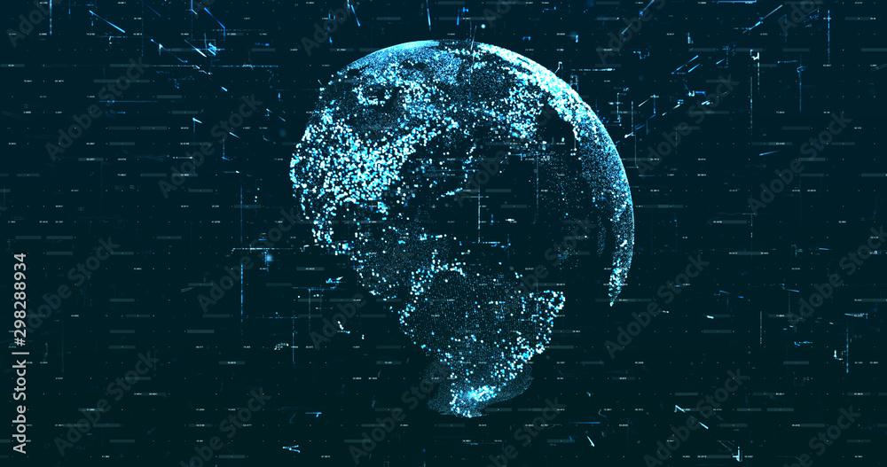 Fototapety, obrazy: Digital space world 3d data earth background