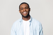 Leinwanddruck Bild - Head shot portrait happy African American man with healthy smile