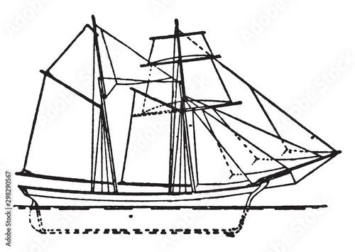 English Schooner, vintage illustration. Canvas-taulu