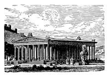 Temple Of Diana At Ephesus, Vintage Illustration.