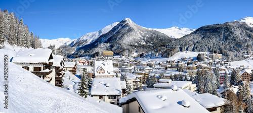 Obraz Panoramic landscape of winter resort Davos - the home of annual  World Economy Forum. - fototapety do salonu