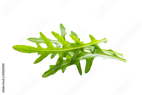 Arugula leaves isolated on white background. Wallpaper Mural
