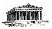 Parthenon, Vintage Illustration.