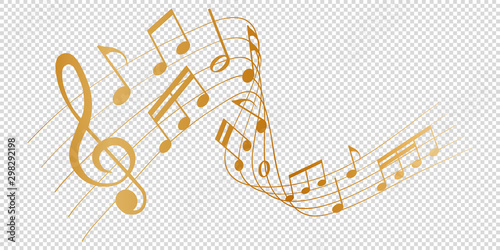 Fotografiet golden musical notes melody on transparent background