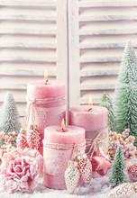 Pink Christmas Candle