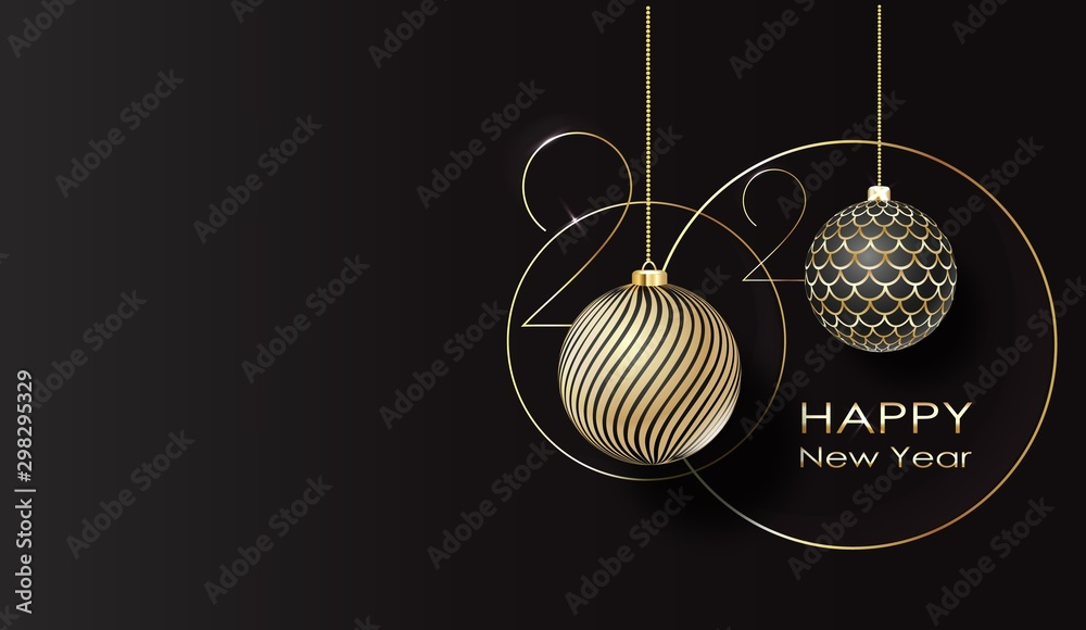 Fototapety, obrazy: greeting card. Happy new year 2020 Golden balls.
