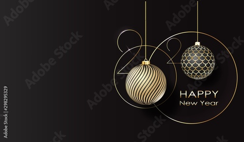 Fotografía  greeting card. Happy new year 2020 Golden balls.