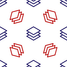 Blue And Red Layers Icon Isolated Seamless Pattern On White Background. Vector Illustration