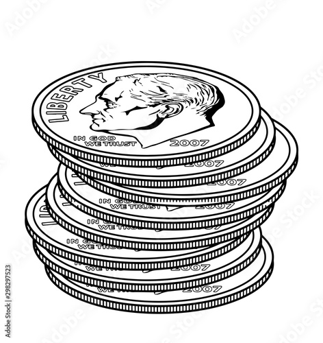 Fotografía  Stacks of Dimes vintage illustration.